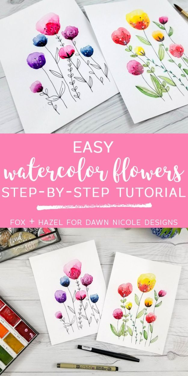 Flower Drawing Tutorials - Easy Watercolor Flowers - Simple Tutorial for Easy Flower Doodles, Vintage Design Ideas for Flowers, Step by Step Pencil Drawings - How to Draw a Rose, Lily, Hibiscus, Daisy