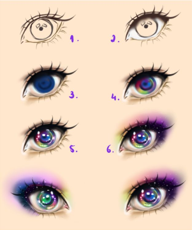 100 How To Draw Tutorials - Galaxy Eyes - Eyes, Hair, Face, Lips, People, Animals, Hands - Step by Step Drawing Tutorial for Beginners - Free Easy Lessons