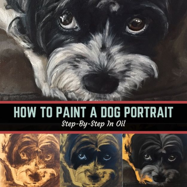 How to Draw Dogs -Paint A Dog Portrait Step-By-Step In Oil - Easy Step by Step Drawing Tutorial - Learn How To Draw A Dog and Cute Puppies - Cartoon and Realistic Animals