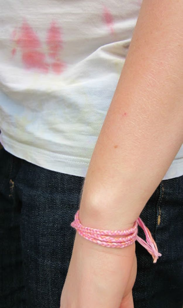 DIY Friendship Bracelets - Simple Braided Friendship Bracelet - Woven, Beaded, Leather and String - Cheap Embroidery Thread Ideas - DIY gifts for Teens