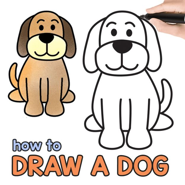 How to Draw Dogs - Step by Step Drawing Tutorial for a Cute Cartoon Dog - Easy Step by Step Drawing Tutorial - Learn How To Draw A Dog and Cute Puppies - Cartoon and Realistic Animals