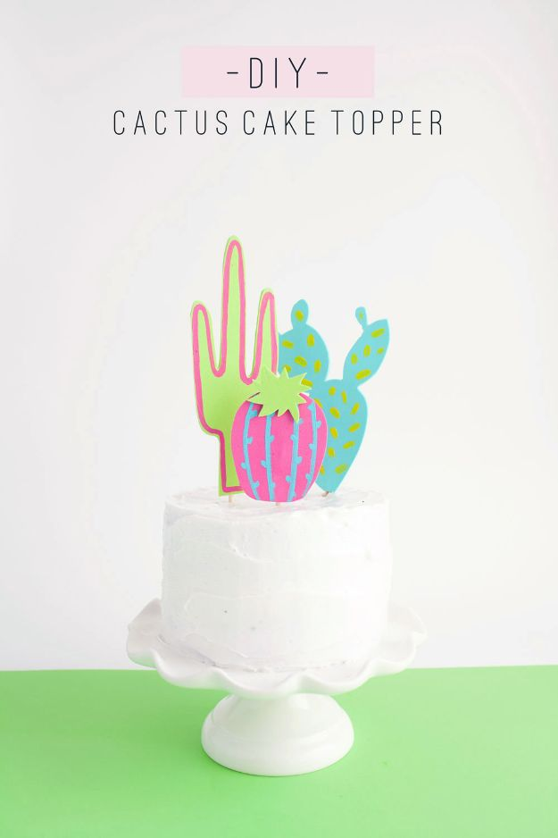 DIY Cactus Crafts | DIY Cactus Cake Topper l Craft Ideas and Home Decor | Painting Tutorials, Gifts, Rocks, Cardboard, Wood Cactus Decorations