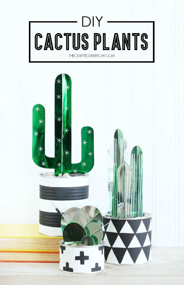 DIY Cactus Crafts | DIY Cactus Plants l Craft Ideas and Home Decor | Painting Tutorials, Gifts, Rocks, Cardboard, Wood Cactus Decorations