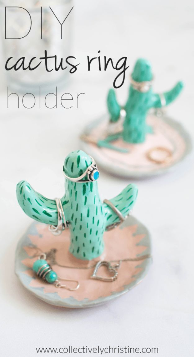 DIY Cactus Crafts | DIY Cactus Ring Holder l Craft Ideas and Home Decor | Painting Tutorials, Gifts, Rocks, Cardboard, Wood Cactus Decorations