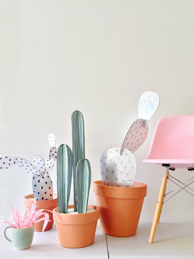 DIY Cactus Crafts | DIY Cardboard Cacti l Craft Ideas and Home Decor | Painting Tutorials, Gifts, Rocks, Cardboard, Wood Cactus Decorations