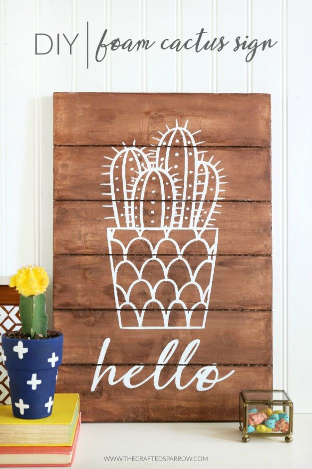 DIY Cactus Crafts | DIY Foam Cactus Sign l Craft Ideas and Home Decor | Painting Tutorials, Gifts, Rocks, Cardboard, Wood Cactus Decorations