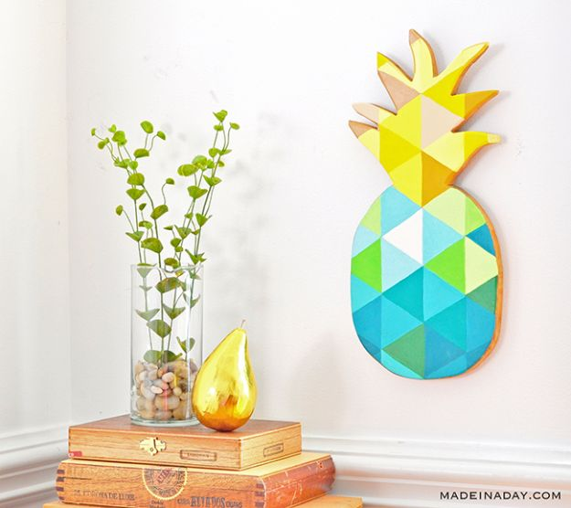 Pineapple Crafts - DIY Painted Geometric Pineapple - Cute Craft Projects That Make Cool DIY Gifts - Wall Decor, Bedroom Art, Jewelry Idea