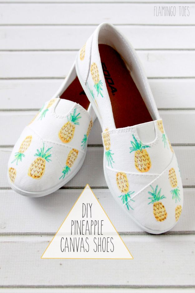 Pineapple Crafts - DIY Painted Pineapple Shoes - Cute Craft Projects That Make Cool DIY Gifts - Wall Decor, Bedroom Art, Jewelry Idea