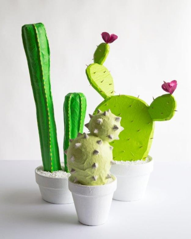 DIY Cactus Crafts | DIY Papier Mache Cacti l Craft Ideas and Home Decor | Painting Tutorials, Gifts, Rocks, Cardboard, Wood Cactus Decorations