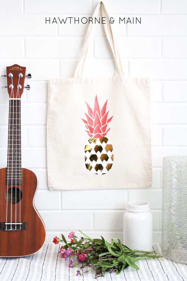 Pineapple Crafts - DIY Pineapple Bag - Cute Craft Projects That Make Cool DIY Gifts - Wall Decor, Bedroom Art, Jewelry Idea