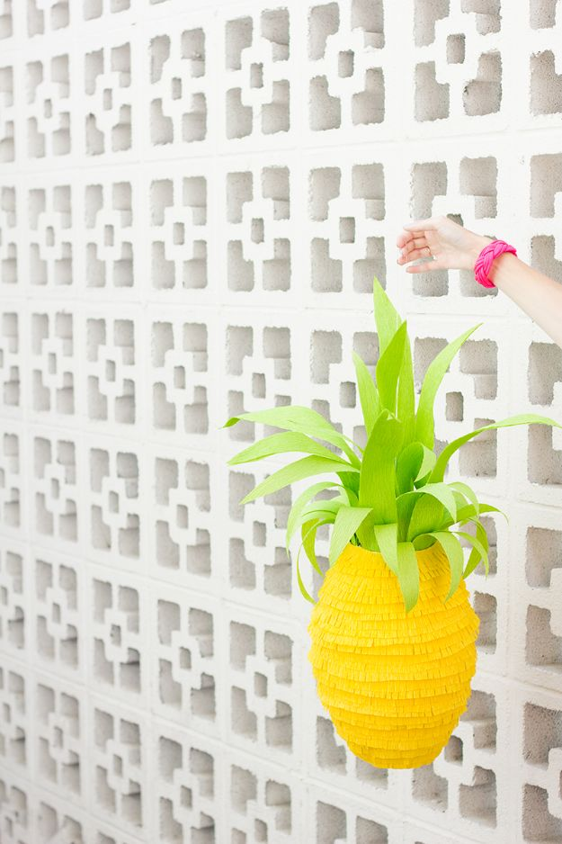 Pineapple Crafts - DIY Pineapple Piñata - Cute Craft Projects That Make Cool DIY Gifts - Wall Decor, Bedroom Art, Jewelry Idea