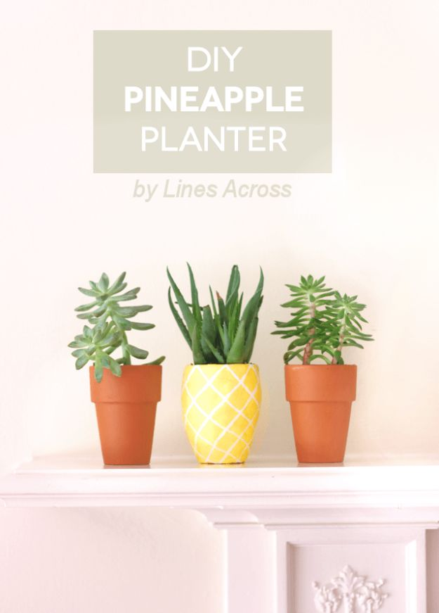 Pineapple Crafts - DIY Succulent Pineapple Planter - Cute Craft Projects That Make Cool DIY Gifts - Wall Decor, Bedroom Art, Jewelry Idea