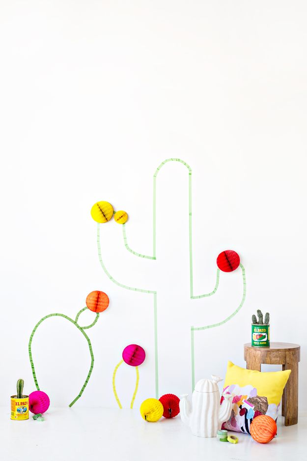 DIY Cactus Crafts | DIY Washi Tape Cactus Wall Art l Craft Ideas and Home Decor | Painting Tutorials, Gifts, Rocks, Cardboard, Wood Cactus Decorations
