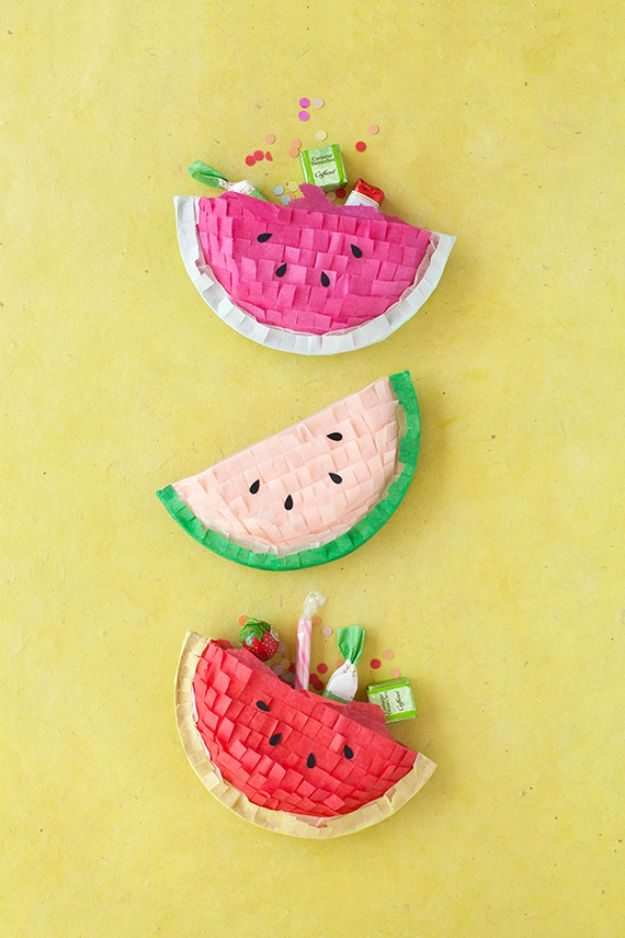 Watermelon Crafts - DIY Watermelon Piñatas - Easy DIY Ideas With Watermelons - Cute Craft Projects That Make Cool DIY Gifts - Wall Decor, Bedroom Art, Jewelry Idea