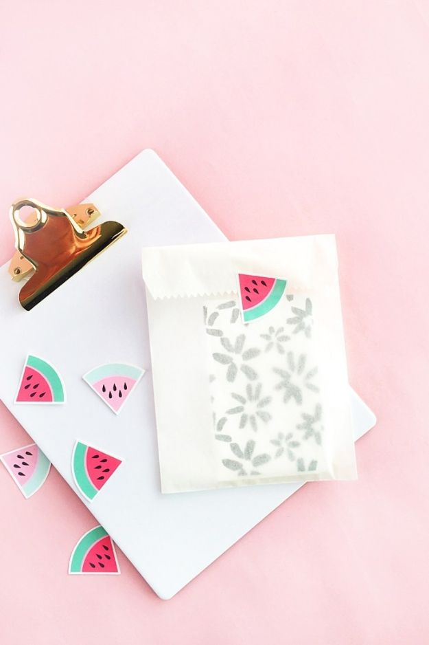 Watermelon Crafts - DIY Watermelon Stickers - Easy DIY Ideas With Watermelons - Cute Craft Projects That Make Cool DIY Gifts - Wall Decor, Bedroom Art, Jewelry Idea