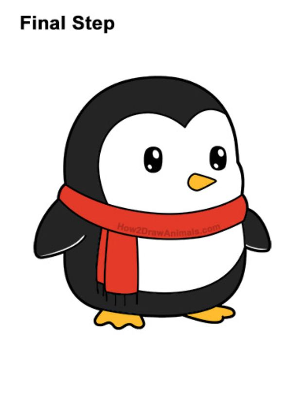 Easy Things to Draw When You Are Bored - Draw A Cartoon Penguin - Quick and Cool Drawing Lessons for Fun Art - How to Draw Basic Things, Cartoons, Animals, Flowers, People