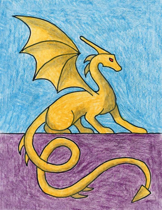 Easy Things to Draw When You Are Bored - Draw A Sitting Dragon - Quick and Cool Drawing Lessons for Fun Art - How to Draw Basic Things, Cartoons, Animals, Flowers, People