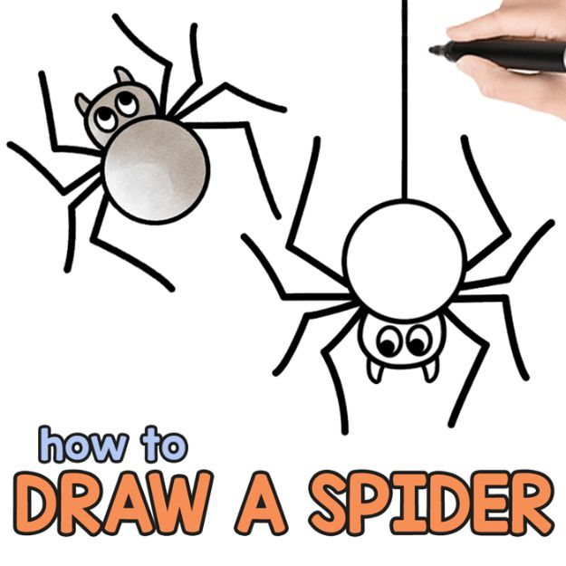 Easy Things to Draw When You Are Bored - Draw A Spider - Quick and Cool Drawing Lessons for Fun Art - How to Draw Basic Things, Cartoons, Animals, Flowers, People