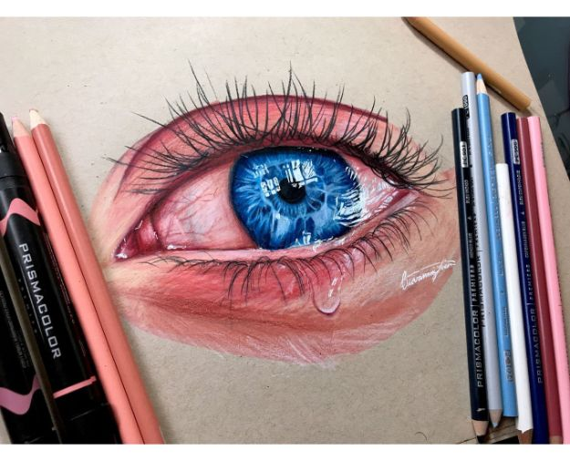 Eye Drawing Tutorials - Draw A Super Realistic Eye - Eays Ways to Learn How to Draw Eyes - How To Draw A Realistic Eye - Shading Eyes, Coloring Techniques and Step by Step Tutorials for Eye Drawings