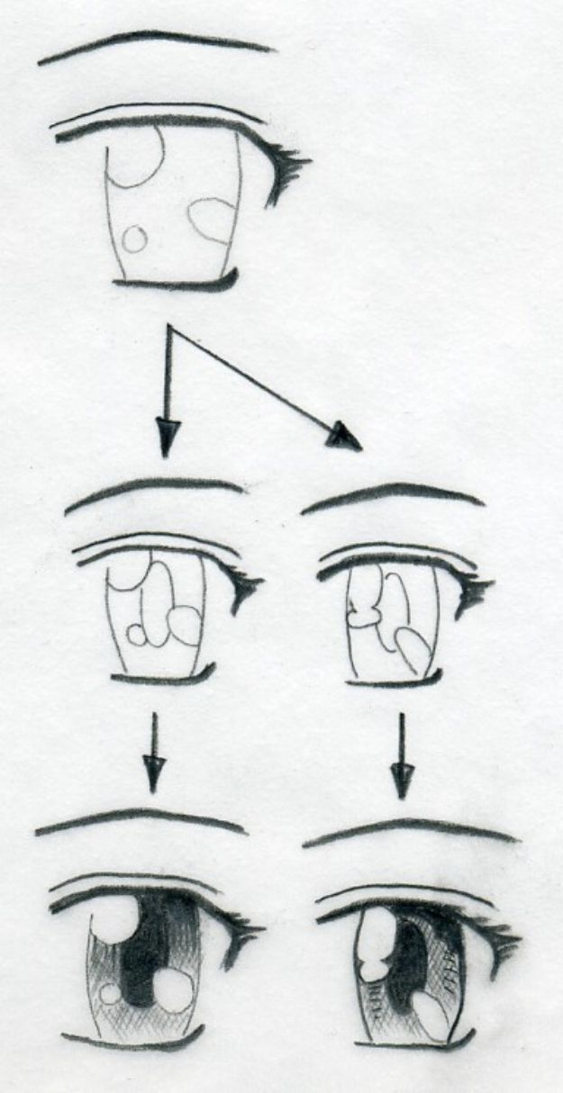 Eye Drawing Tutorials - Draw Manga Eyes - Eays Ways to Learn How to Draw Eyes - How To Draw A Realistic Eye - Shading Eyes, Coloring Techniques and Step by Step Tutorials for Eye Drawings