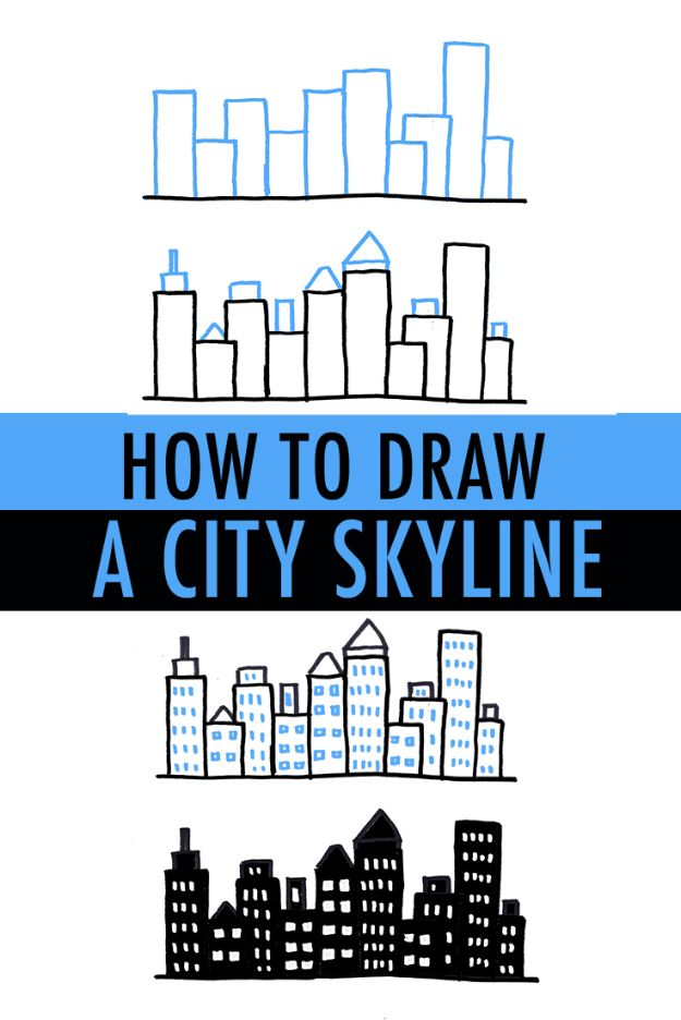 Easy Things to Draw When You Are Bored - Draw a City Skyline - Quick and Cool Drawing Lessons for Fun Art - How to Draw Basic Things, Cartoons, Animals, Flowers, People