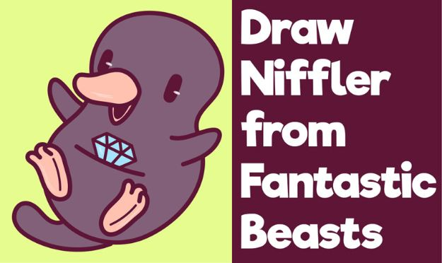 Easy Things to Draw When You Are Bored - Draw a Cute Niffler from Fantastic Beasts - Quick and Cool Drawing Lessons for Fun Art - How to Draw Basic Things, Cartoons, Animals, Flowers, People