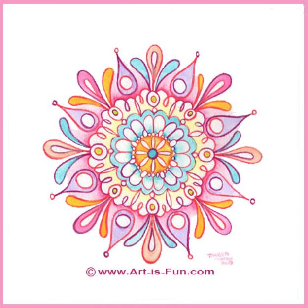 Easy Things to Draw When You Are Bored - Draw a Mandala - Quick and Cool Drawing Lessons for Fun Art - How to Draw Basic Things, Cartoons, Animals, Flowers, People