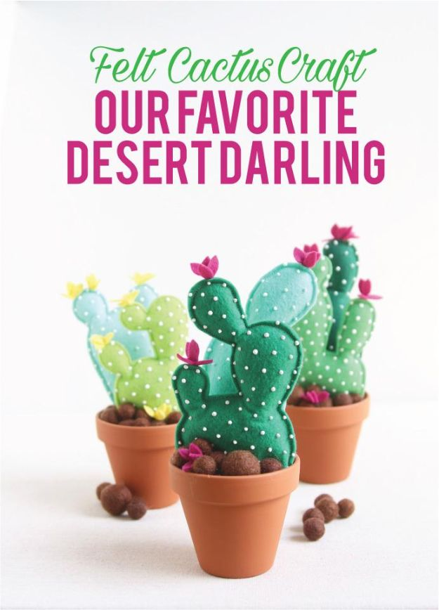 DIY Cactus Crafts | Felt Cactus DIY l Craft Ideas and Home Decor | Painting Tutorials, Gifts, Rocks, Cardboard, Wood Cactus Decorations