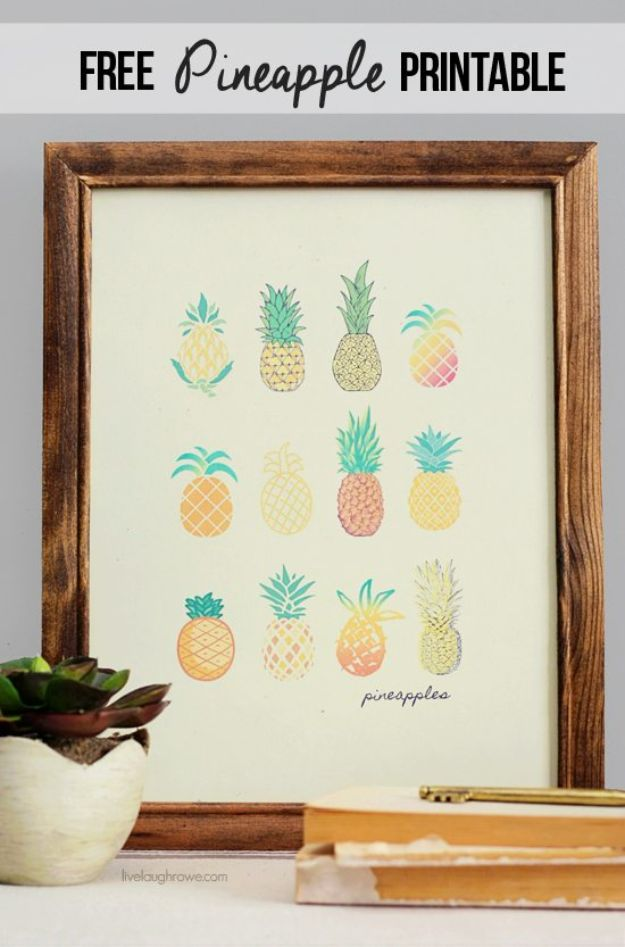 Pineapple Crafts - Free Pineapple Printable for the Home - Cute Craft Projects That Make Cool DIY Gifts - Wall Decor, Bedroom Art, Jewelry Idea