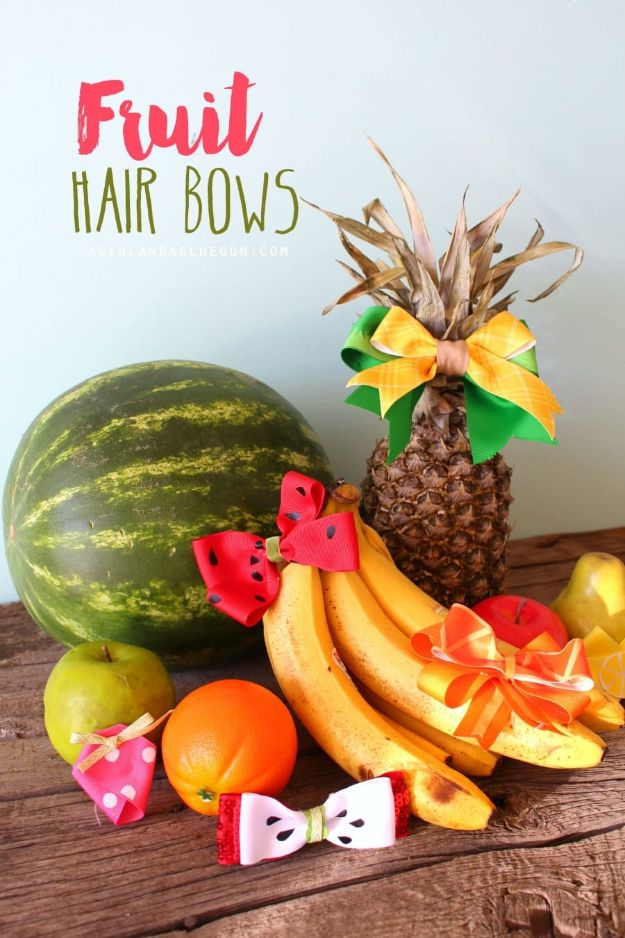 Watermelon Crafts - Fruit Hair Bows - Easy DIY Ideas With Watermelons - Cute Craft Projects That Make Cool DIY Gifts - Wall Decor, Bedroom Art, Jewelry Idea