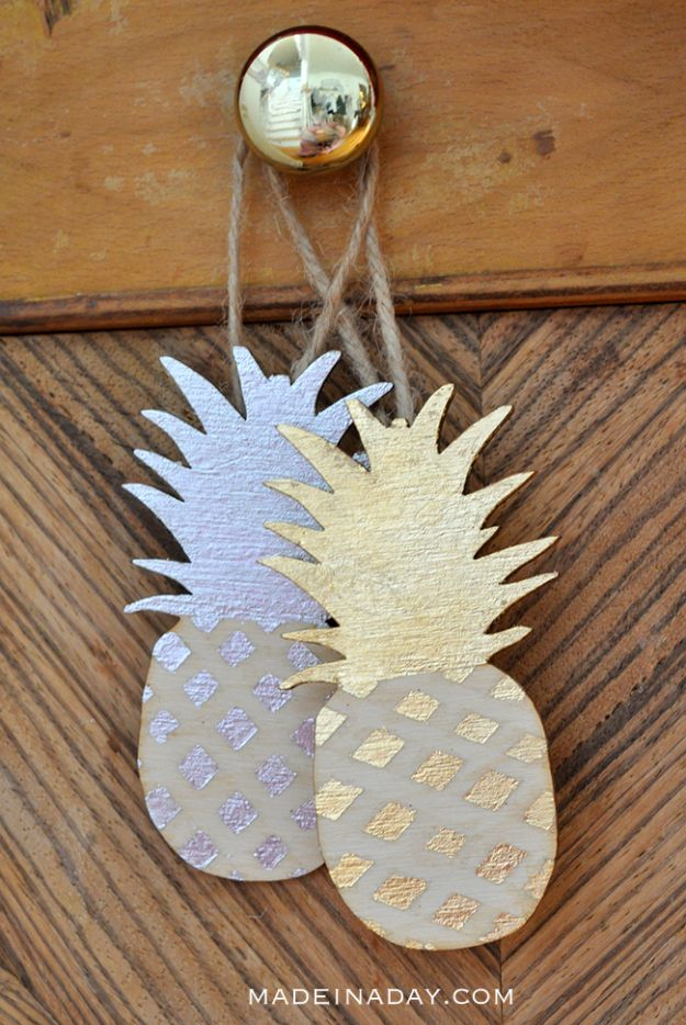 Pineapple Crafts - Gilded Pineapple Ornaments - Cute Craft Projects That Make Cool DIY Gifts - Wall Decor, Bedroom Art, Jewelry Idea
