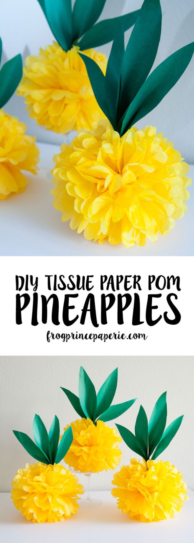 Pineapple Crafts - Luau Tissue Paper Pineapple Pouf - Cute Craft Projects That Make Cool DIY Gifts - Wall Decor, Bedroom Art, Jewelry Idea