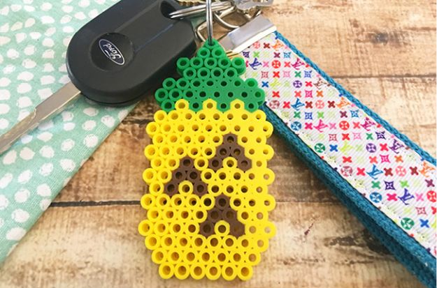 Pineapple Crafts - Perler Bead Pineapple Keychain - Cute Craft Projects That Make Cool DIY Gifts - Wall Decor, Bedroom Art, Jewelry Idea