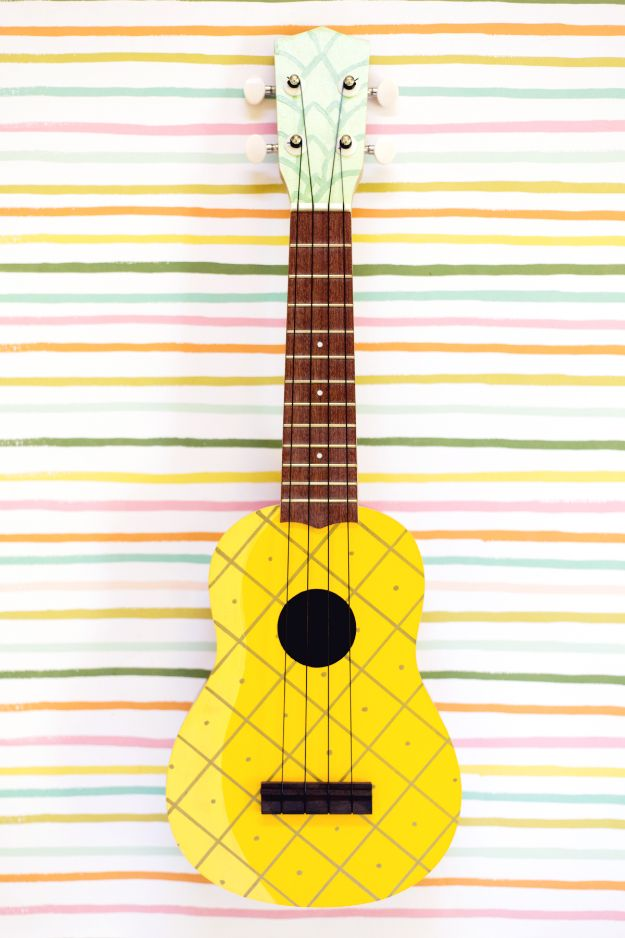 Pineapple Crafts - Pineapple Painted Ukelele - Cute Craft Projects That Make Cool DIY Gifts - Wall Decor, Bedroom Art, Jewelry Idea