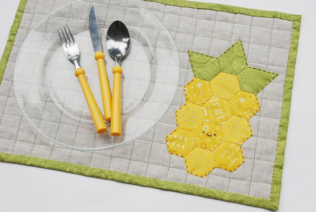 Pineapple Crafts - Pineapple Quilted Placemat - Cute Craft Projects That Make Cool DIY Gifts - Wall Decor, Bedroom Art, Jewelry Idea