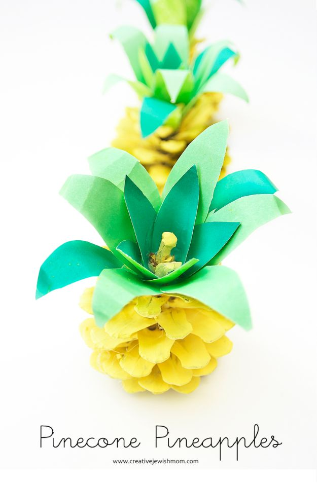 Pineapple Crafts - Pinecone Pineapples - Cute Craft Projects That Make Cool DIY Gifts - Wall Decor, Bedroom Art, Jewelry Idea