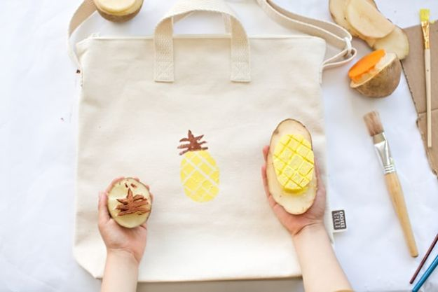 Pineapple Crafts - Potato Stamped Fruit Bag - Cute Craft Projects That Make Cool DIY Gifts - Wall Decor, Bedroom Art, Jewelry Idea