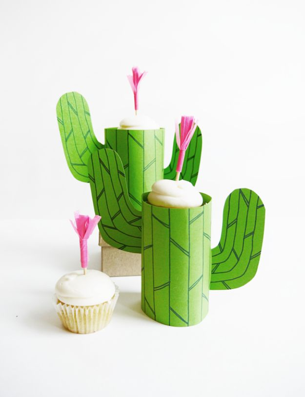 DIY Cactus Crafts | Printable Cactus Mini Cupcake Stand l Craft Ideas and Home Decor | Painting Tutorials, Gifts, Rocks, Cardboard, Wood Cactus Decorations