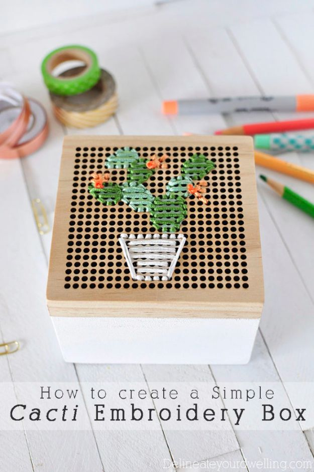 DIY Cactus Crafts | Simple Cacti Embroidery Box l Craft Ideas and Home Decor | Painting Tutorials, Gifts, Rocks, Cardboard, Wood Cactus Decorations
