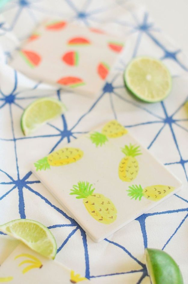 Pineapple Crafts - Watercolor Fruit Coasters - Cute Craft Projects That Make Cool DIY Gifts - Wall Decor, Bedroom Art, Jewelry Idea