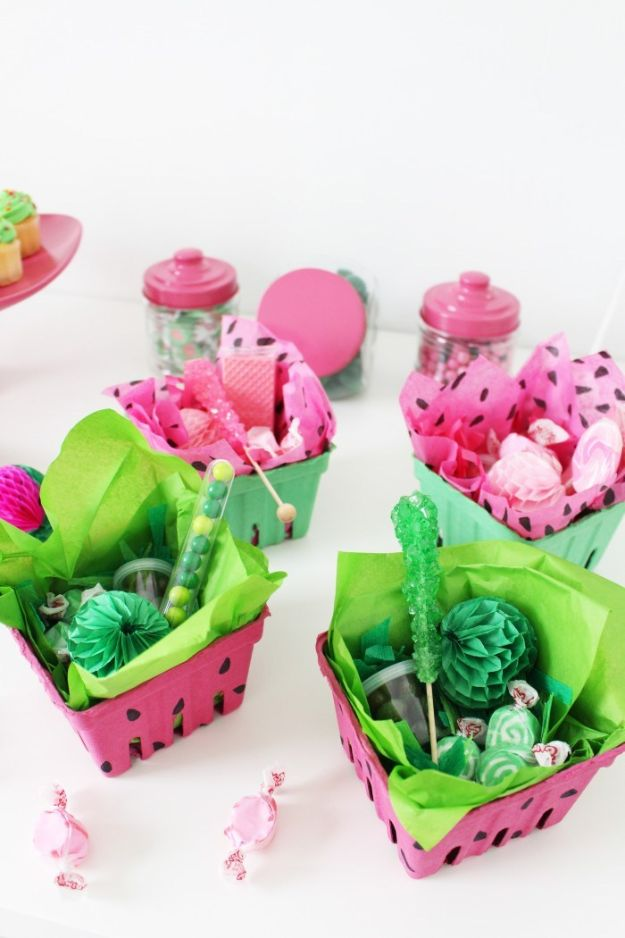Watermelon Crafts - Watermelon Berry Boxes - Easy DIY Ideas With Watermelons - Cute Craft Projects That Make Cool DIY Gifts - Wall Decor, Bedroom Art, Jewelry Idea