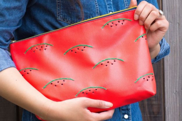 Watermelon Crafts - Watermelon Embroidered Clutch - Easy DIY Ideas With Watermelons - Cute Craft Projects That Make Cool DIY Gifts - Wall Decor, Bedroom Art, Jewelry Idea