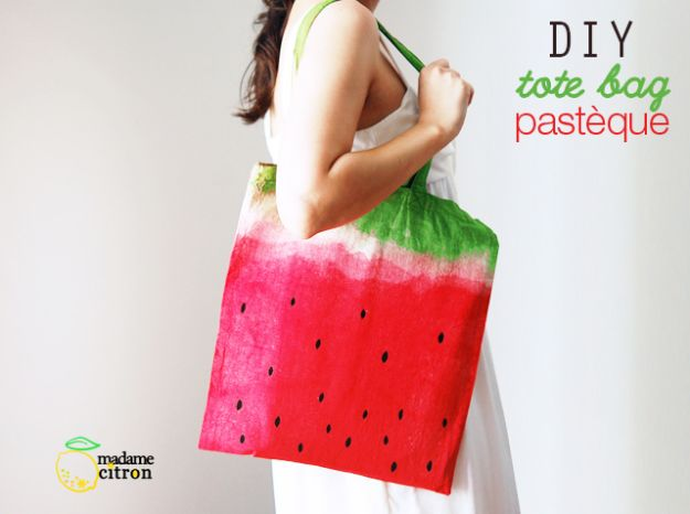 Watermelon Crafts - Watermelon Tote Bag - Easy DIY Ideas With Watermelons - Cute Craft Projects That Make Cool DIY Gifts - Wall Decor, Bedroom Art, Jewelry Idea