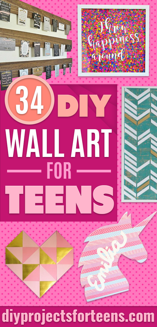 DIY Wall Art Ideas for Teens - Teen Boy and Girl Bedroom Wall Decor Ideas - Cheap Canvas Paintings and Wall Hangings For Room Decoration