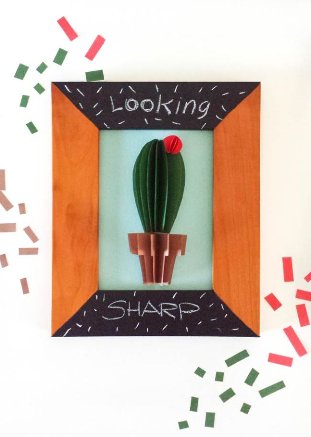 DIY Wall Art Ideas for Teens - Cactus Wall Art DIY - Teen Boy and Girl Bedroom Wall Decor Ideas - Cheap Canvas Paintings and Wall Hangings For Room Decoration