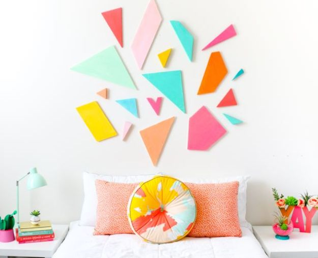 DIY Wall Art Ideas for Teens - Colorful Geometric Headboard - Teen Boy and Girl Bedroom Wall Decor Ideas - Cheap Canvas Paintings and Wall Hangings For Room Decoration
