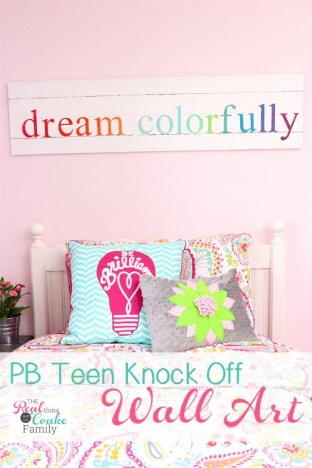 DIY Wall Art Ideas for Teens - Colorful PB Teen Knock Off Wall Art - Teen Boy and Girl Bedroom Wall Decor Ideas - Cheap Canvas Paintings and Wall Hangings For Room Decoration