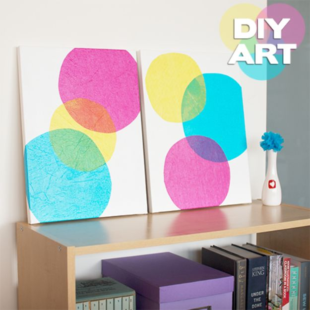 DIY Wall Art Ideas for Teens - DIY Bubbles Wall Art - Teen Boy and Girl Bedroom Wall Decor Ideas - Cheap Canvas Paintings and Wall Hangings For Room Decoration