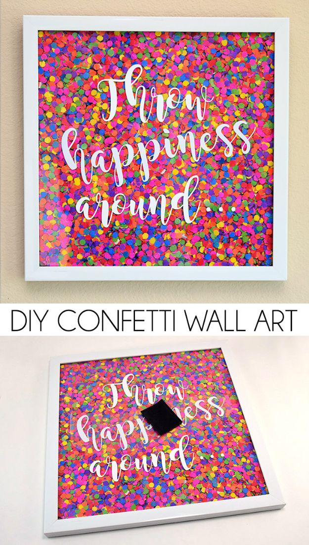 Easy DIY Wall Art Idea for Teenagers | Creative DIY Confetti Wall Art Tutorial | Bedroom Decor Ideas for Teens Walls