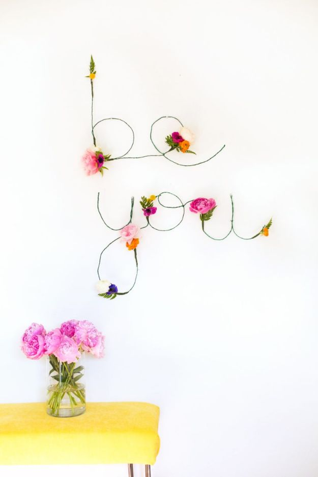 DIY Wall Art Ideas for Teens - DIY Floral and Wire Words - Teen Boy and Girl Bedroom Wall Decor Ideas - Cheap Canvas Paintings and Wall Hangings For Room Decoration